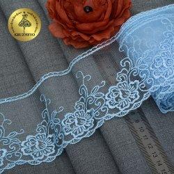 """Кружево на сетке цветок """"Голубое"""" 9.5 см"""